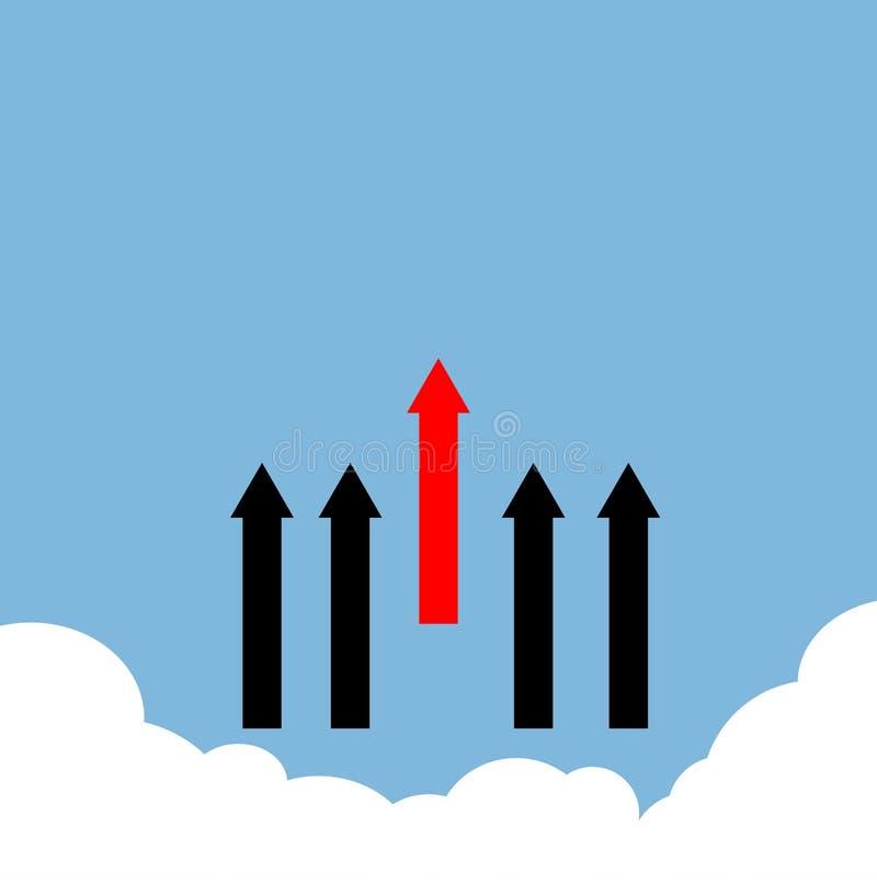 Rosso con la linea nera tomaia della freccia su nuvoloso royalty illustrazione gratis