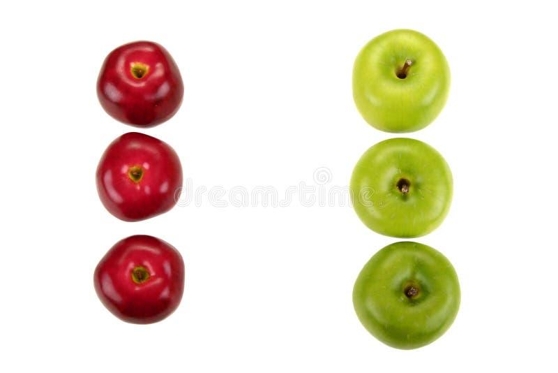 Rosso contro Apple verde immagine stock