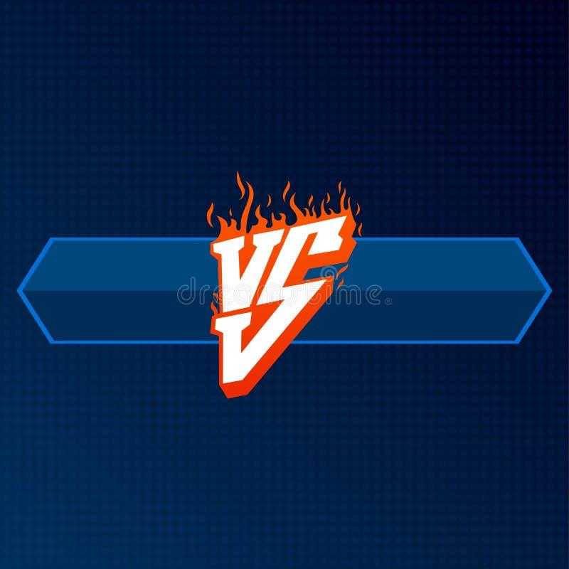 Rosso contro il logo con il bordo blu CONTRO l'illustrazione delle lettere Icona della concorrenza Simbolo di lotta illustrazione di stock