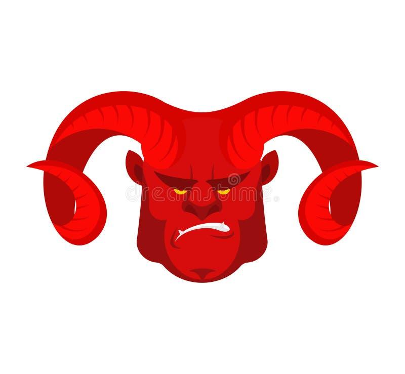 Rosso del diavolo con i grandi corni Fronte del demone Testa di Satan Lucifero arrabbiato royalty illustrazione gratis