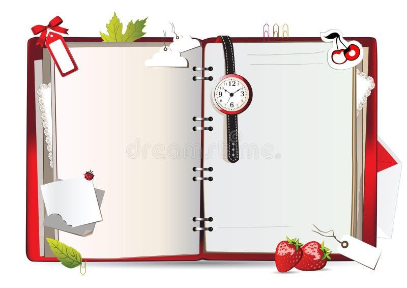 Rosso del taccuino illustrazione di stock