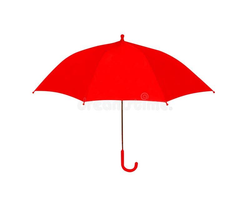 Rosso dell'ombrello isolato su fondo bianco, oggetto fotografia stock