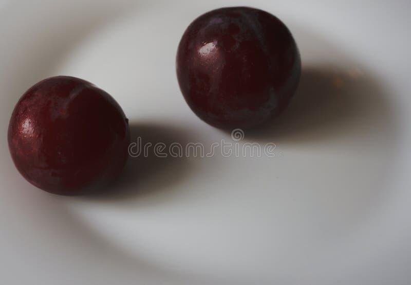 Rosso della prugna sul piatto immagini stock
