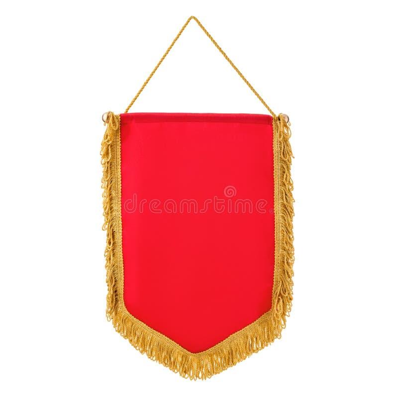 Rosso dello stendardo con frangia, fondo bianco fotografie stock