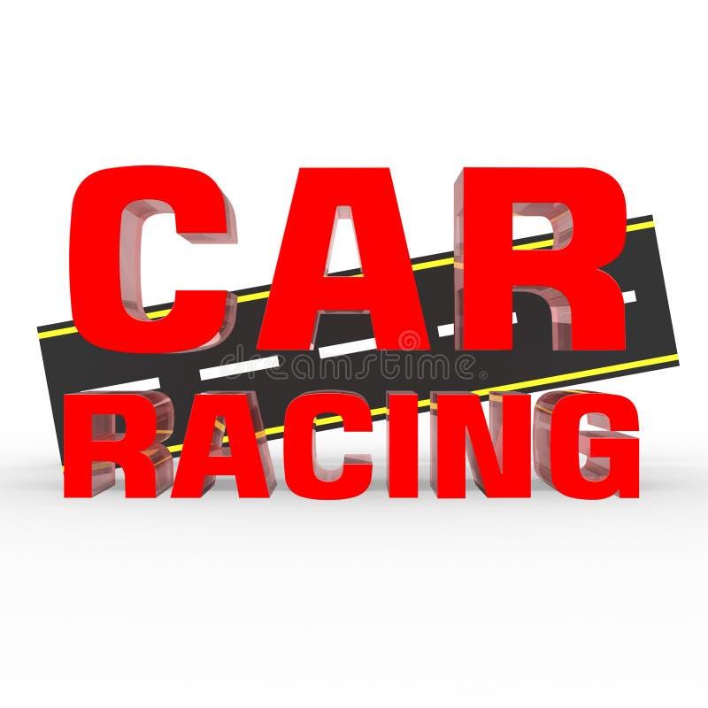 rosso di corsa di automobile 3D Priorità bassa bianca illustrazione vettoriale