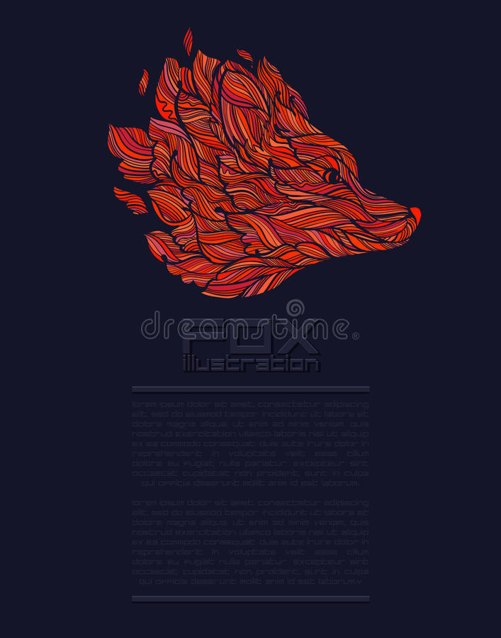 Rosso di Fox o di Wolf Design Icon Logo Luxury di vettore immagine stock