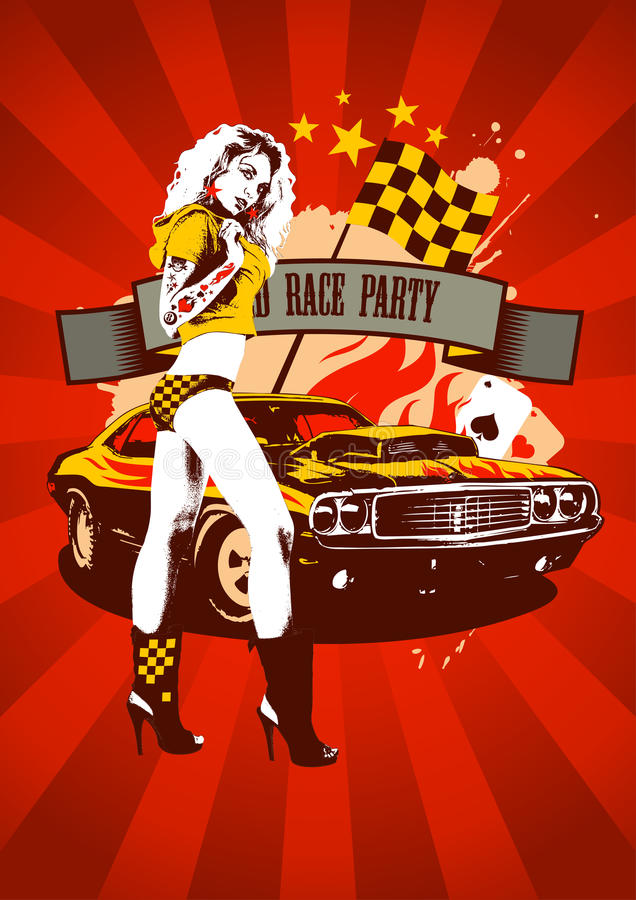 Rosso di progettazione del partito della corsa del motore retro royalty illustrazione gratis