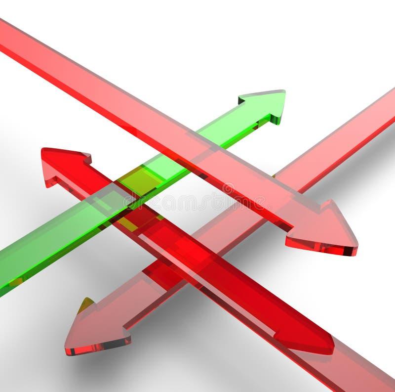 Rosso 2 di verde delle frecce dell'incrocio illustrazione di stock