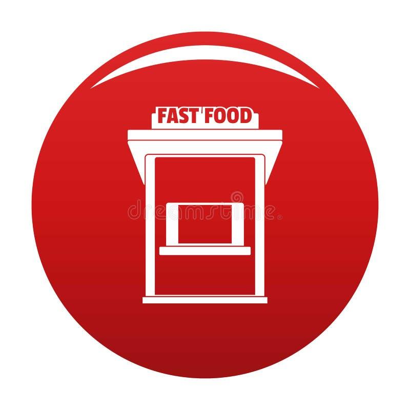 Rosso di vettore dell'icona di commercio degli alimenti a rapida preparazione illustrazione vettoriale