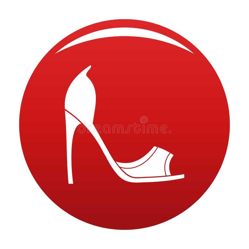Rosso di vettore dell'icona delle scarpe della donna illustrazione vettoriale