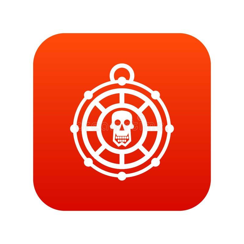 Rosso digitale dell'icona dell'amuleto del pirata illustrazione vettoriale