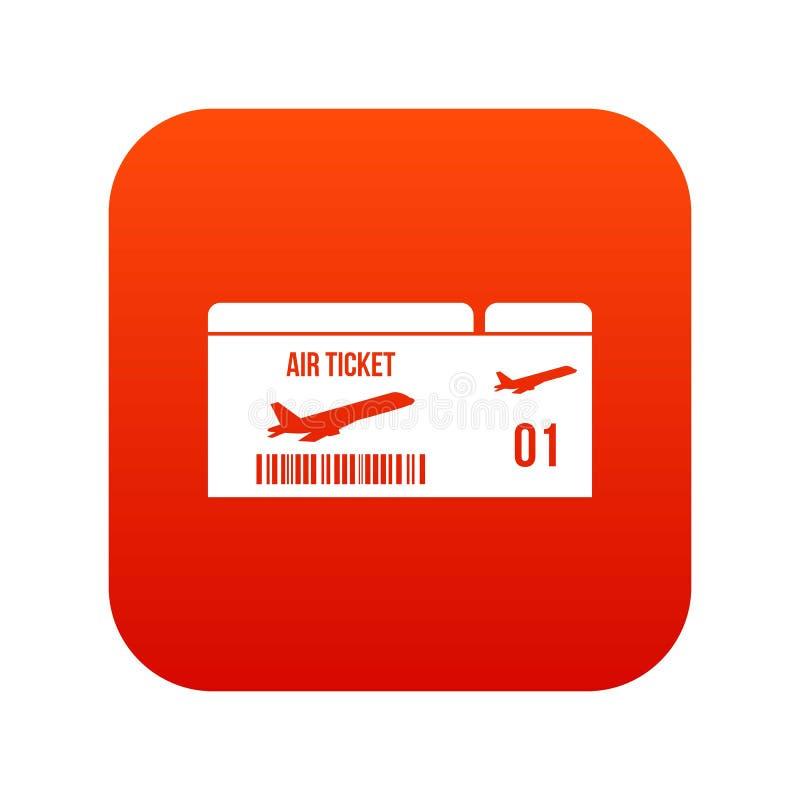 Rosso digitale dell'icona del passaggio di imbarco di linea aerea illustrazione di stock