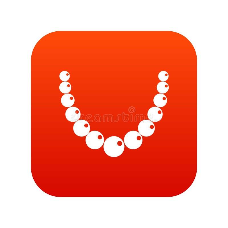 Rosso digitale dell'icona della perla illustrazione vettoriale