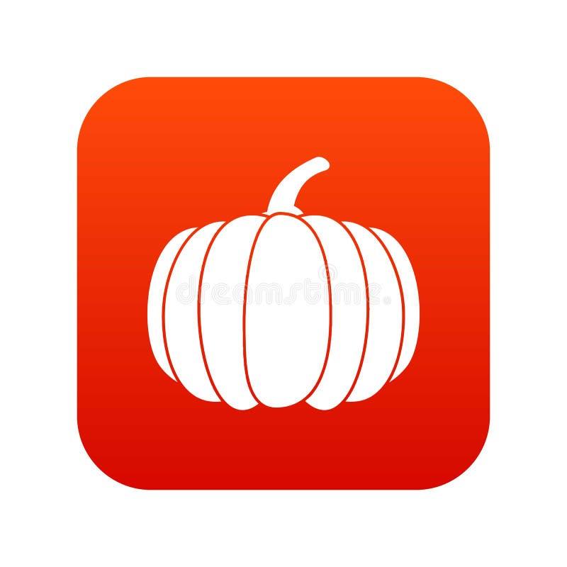 Rosso digitale dell'icona della zucca illustrazione di stock