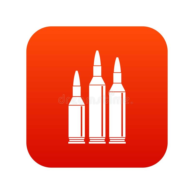Rosso digitale dell'icona delle munizioni della pallottola illustrazione di stock