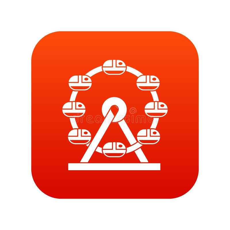 Rosso digitale di ferris dell'icona gigante della ruota illustrazione vettoriale