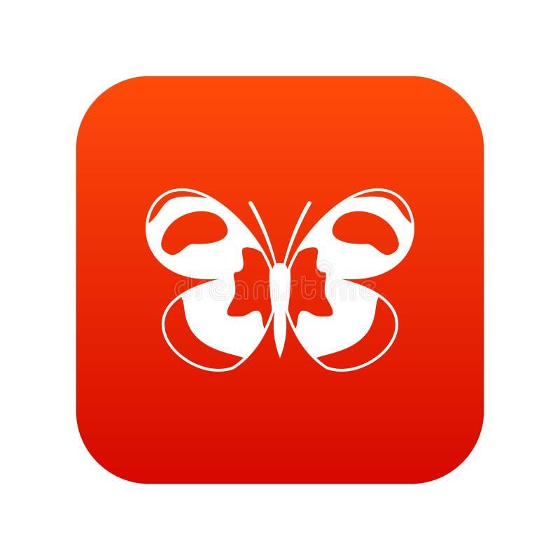 Rosso digitale macchiato dell'icona della farfalla illustrazione di stock
