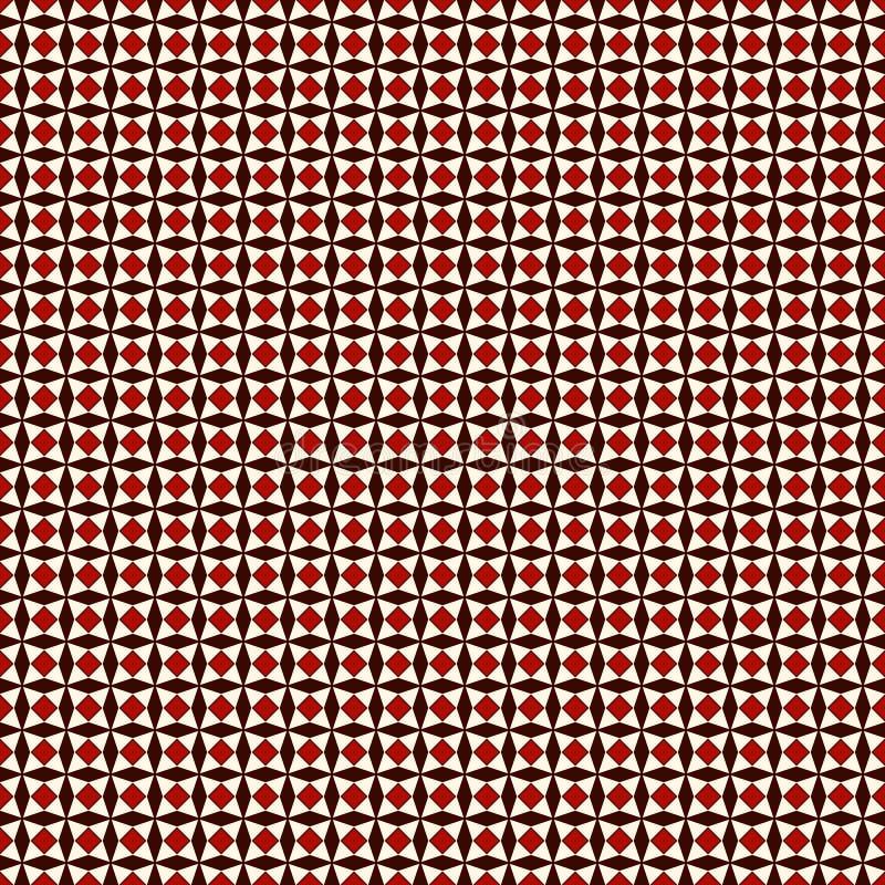 Rosso e bianco colora il modello senza cuciture con le stelle di ripetizione stilizzate Ornamento geometrico semplice struttura a illustrazione di stock