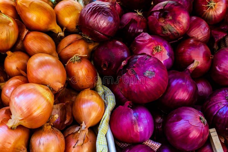 Rosso e giallo organici su esposizione al mercato degli agricoltori fotografia stock