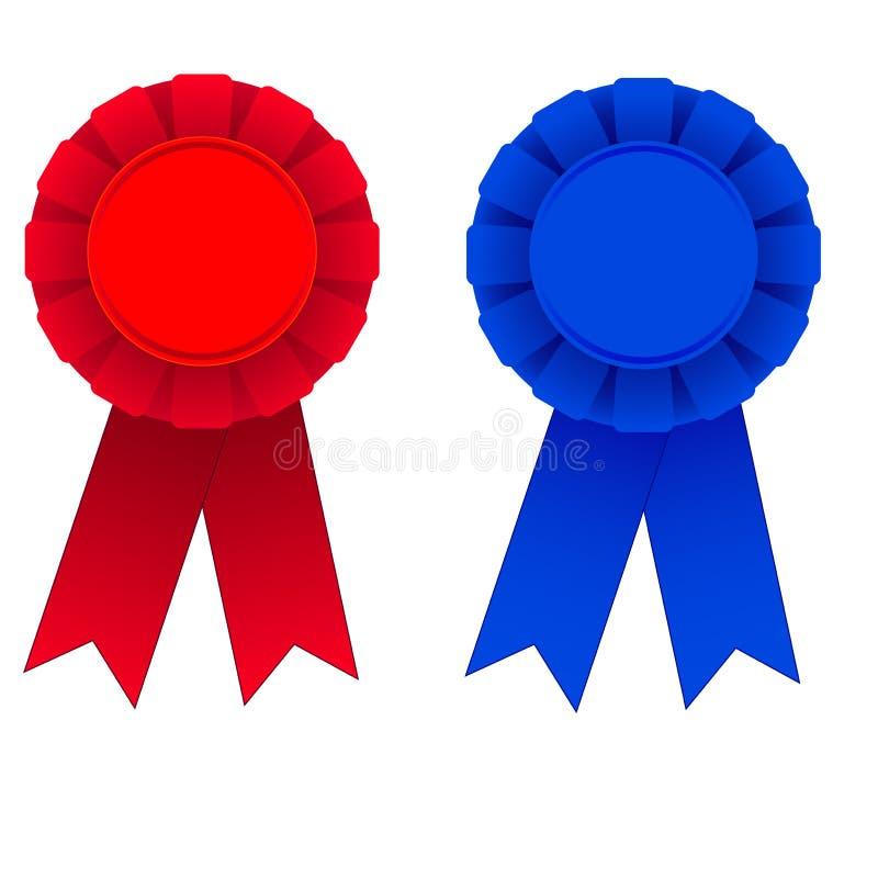 Rosso e nastri blu del premio illustrazione di stock