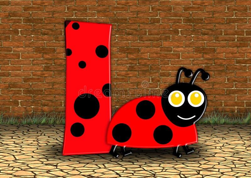 Rosso, Ladybird, fonte, illustrazione fotografia stock