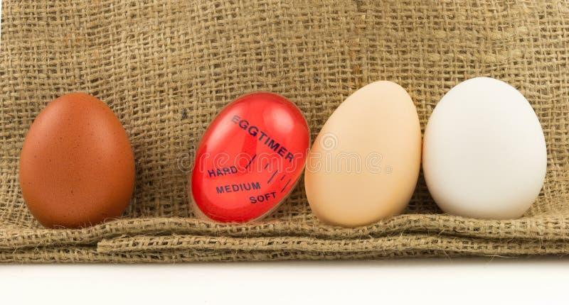 Rosso moderno, temporizzatore di plastica della cucina con le uova fotografia stock