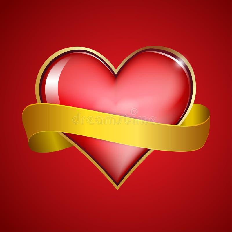 Rosso   nastro dell'oro & del cuore royalty illustrazione gratis