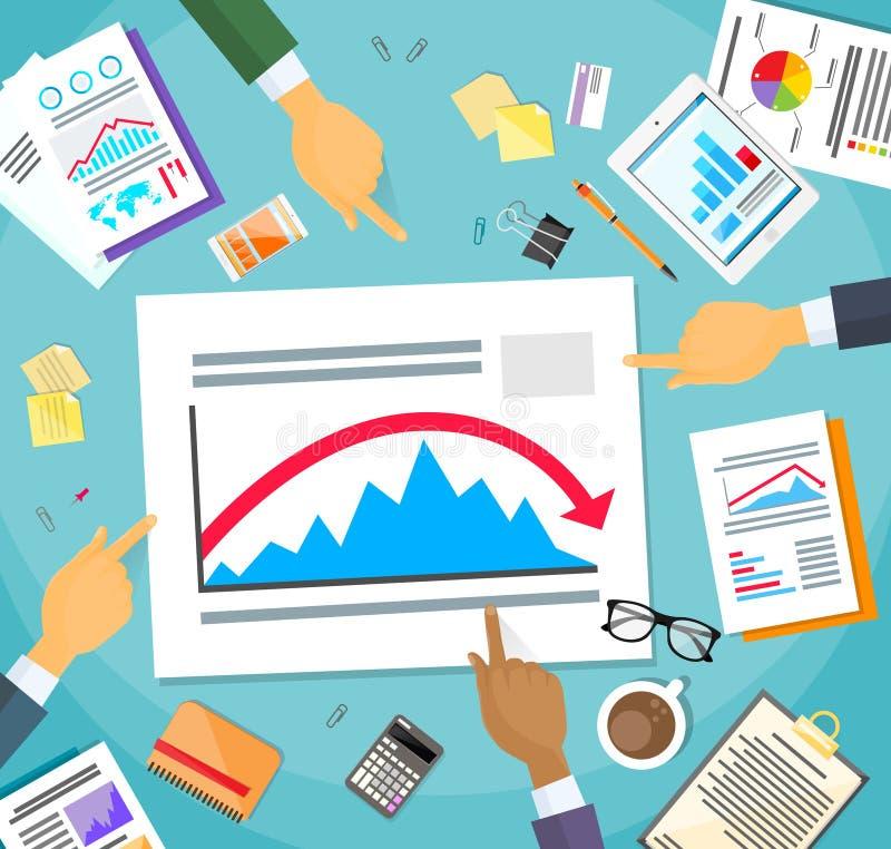 Rosso negativo del grafico di crisi di finanza di manifestazione degli uomini d'affari illustrazione di stock