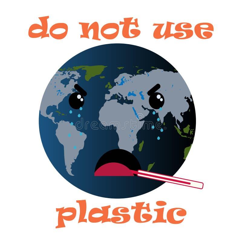 Rosso non usi di plastica Progettazione di informazioni Manifesto di ecologia Elemento dell'ambiente Conservi l'ecologia della te royalty illustrazione gratis