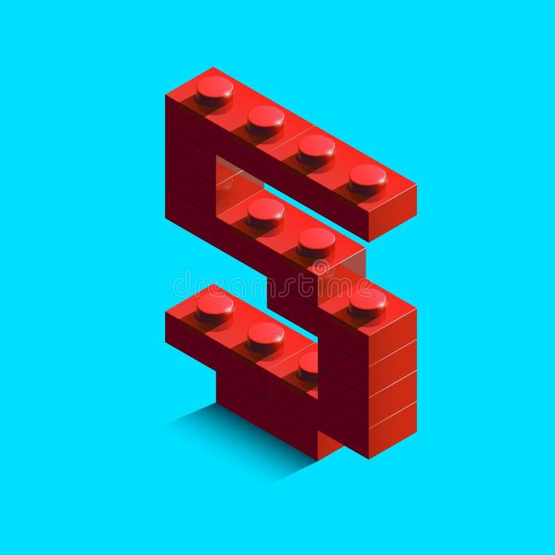 Rosso realistico numero isometrico 5 di 3d dell'alfabeto dai mattoni di lego del costruttore illustrazione vettoriale