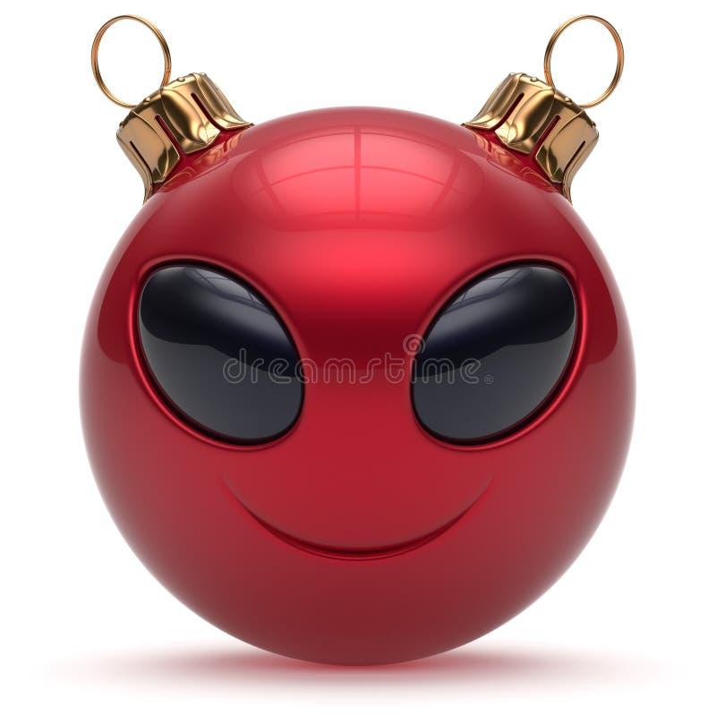 Rosso straniero sorridente della bagattella del buon anno del fronte della palla di Natale illustrazione vettoriale