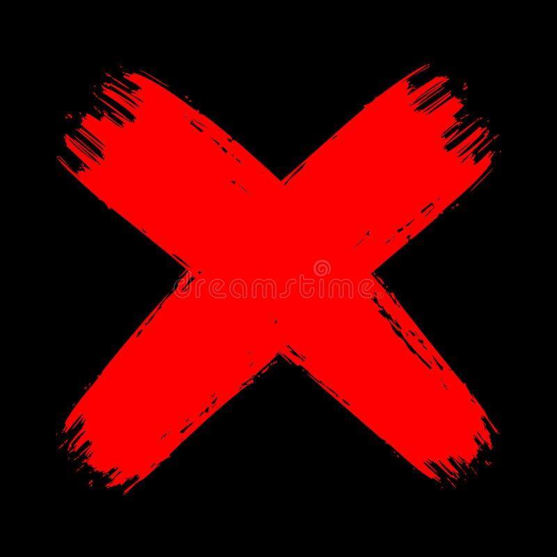 Rosso sull'incrocio nero del colpo della spazzola di lerciume nessun declino aggressivo illustrazione vettoriale