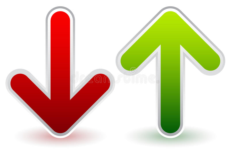 Rosso, verde giù e frecce alte Crescita, declino, aumento, diminuzione illustrazione di stock