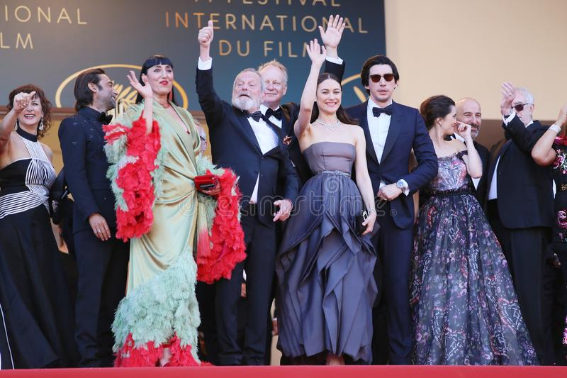 Rossy de Palma, Terry Gilliam, Stellan Skarsgard, Olga Kurylenk. O, Adam Driver attend Closing Ceremony during the 71st Cannes Festival at Palais on May 19, 2018 stock images