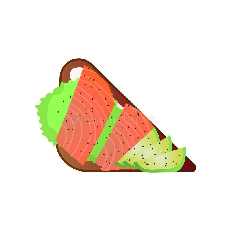 Rostad smörgås med den röda fisken, lax med grönsakstycket royaltyfri illustrationer