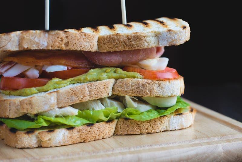 Rostad trippel Decker Club Sandwich med höna, bacon arkivbild