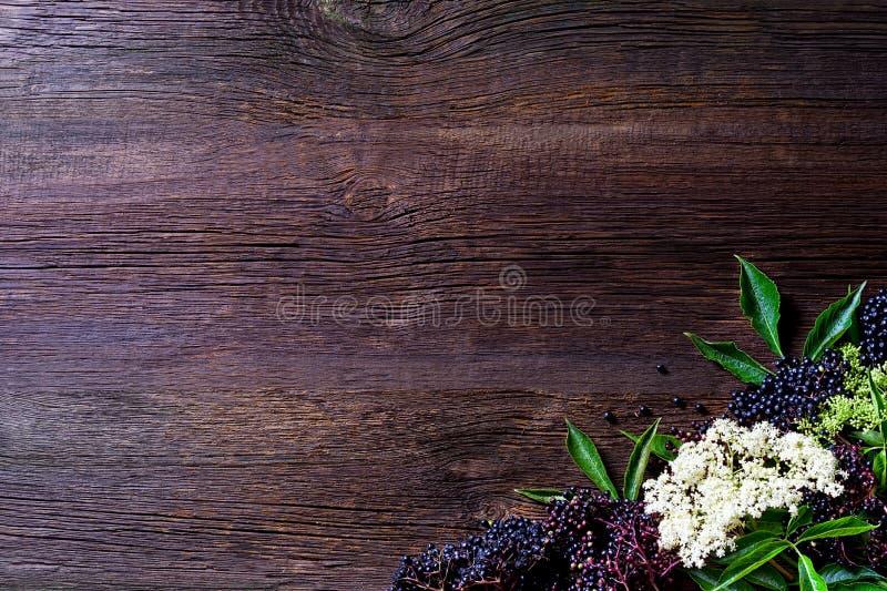 Rostade bröd med fläderbärdriftstopp och nya bärfrukter på trätabellen Fritt avstånd för din text royaltyfri bild