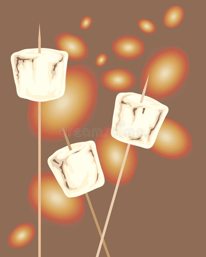 Rostade marshmallower royaltyfri illustrationer