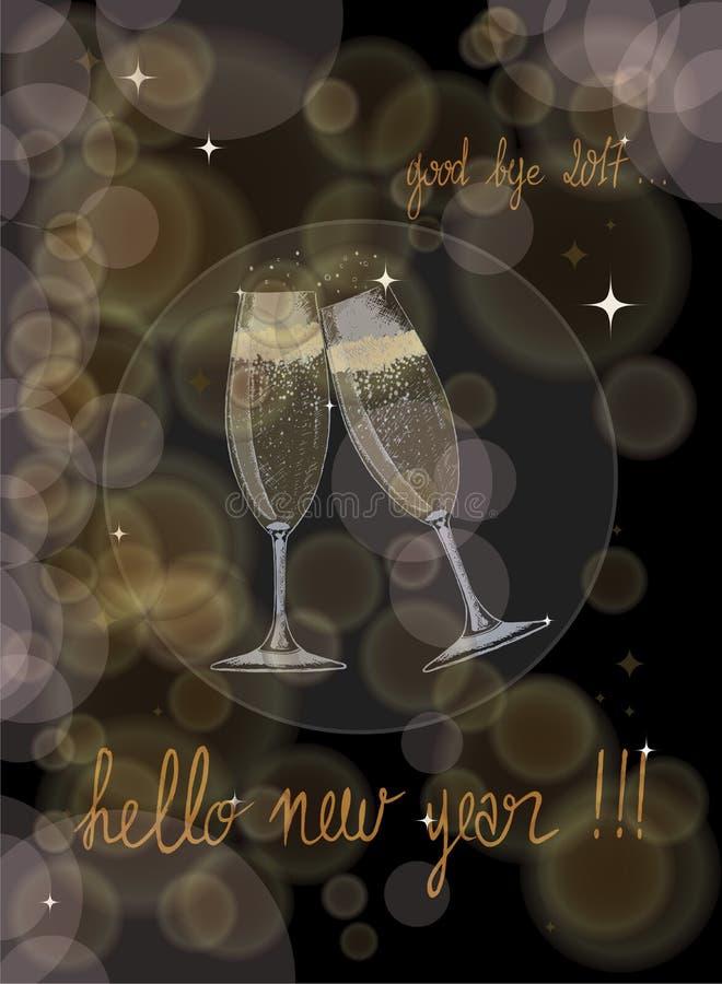 rostat bröd med två exponeringsglas av champagne och ett handskrivet lyckligt nytt år i guld- skuggor stock illustrationer