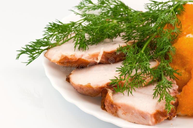 Rosted Blumenkohl mit chiken Fleisch lizenzfreie stockfotografie