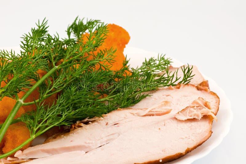 Rosted Blumenkohl mit chiken Fleisch stockfoto