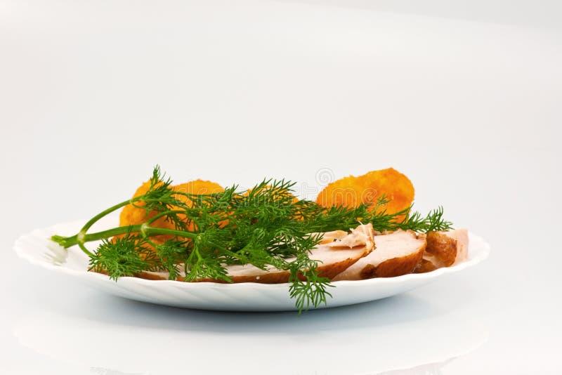 Rosted Blumenkohl mit chiken Fleisch und Dill lizenzfreies stockbild
