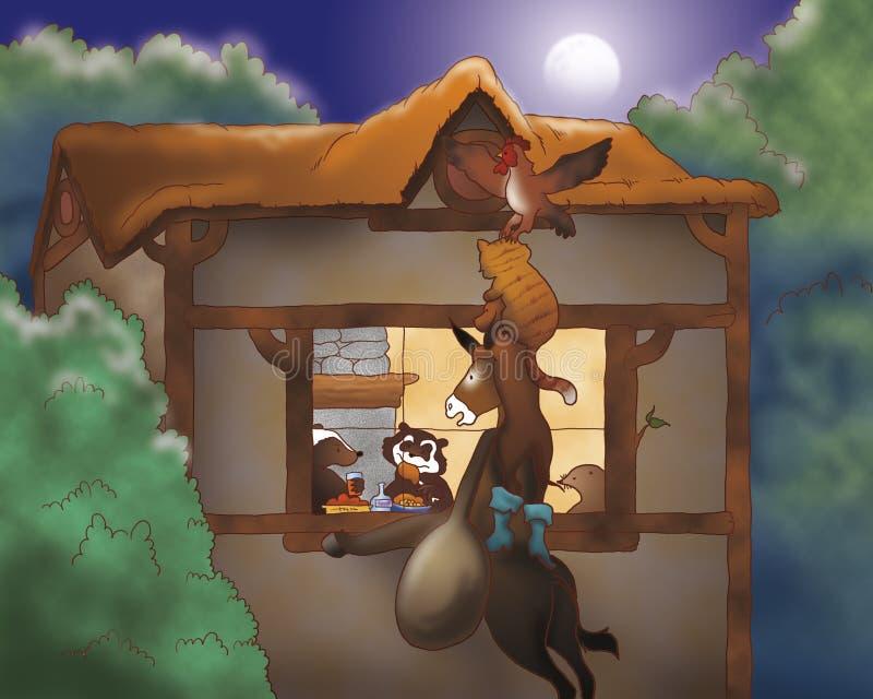 roster för natt för katthundåsna royaltyfri illustrationer