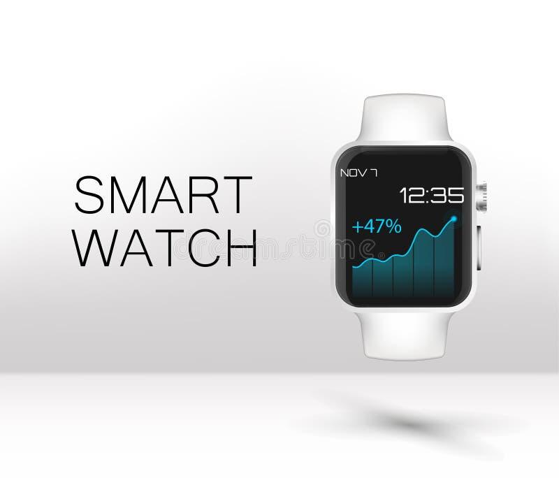 Rostfreie silberne intelligente Uhr stock abbildung
