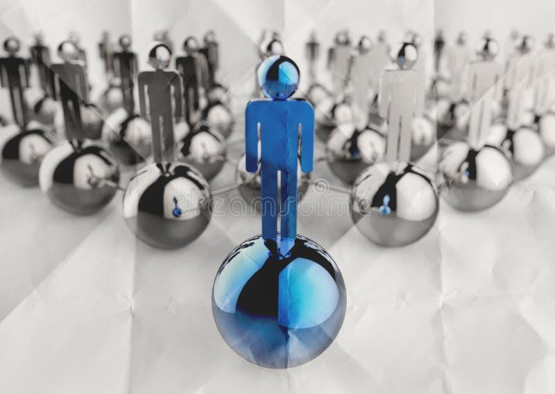 rostfritt mänskligt socialt nätverk 3d och ledarskap på skrynklig välling arkivbild
