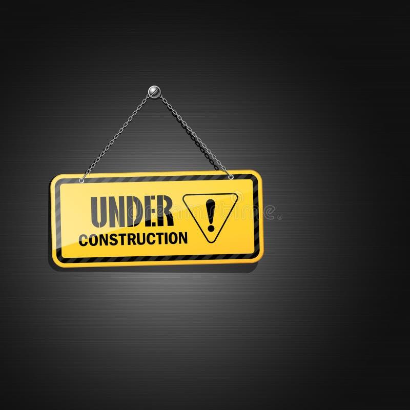 Rostfritt svart och gult under konstruktionstecken vektor illustrationer