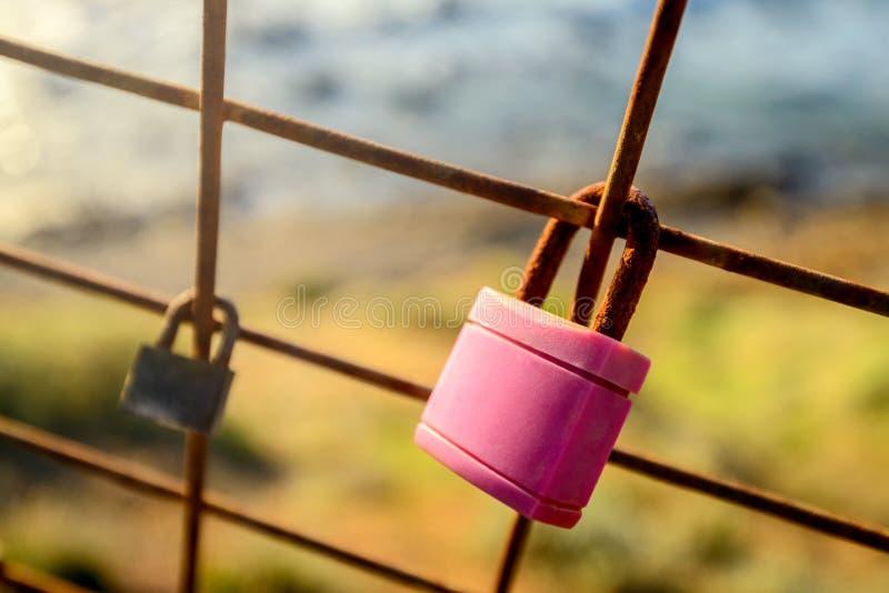 Rostig förälskelse låser att hänga på staketet som ett symbol av lojalitet och royaltyfri fotografi