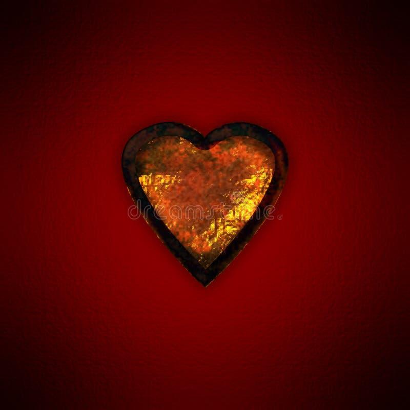 rostig guldhjärta stock illustrationer