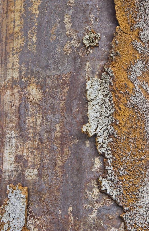 Rostig metallbakgrund med den elektriska svetsande sömmen arkivfoton