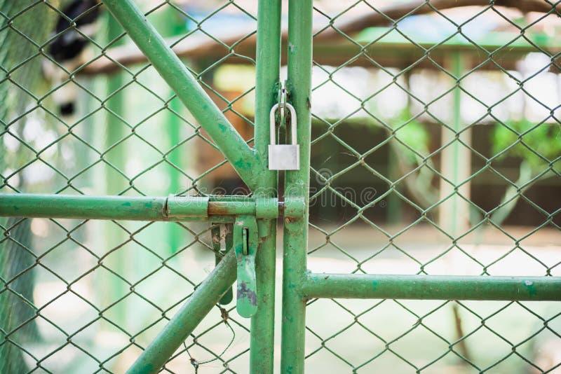 rostig metalldörr med den låste dörren arkivbild
